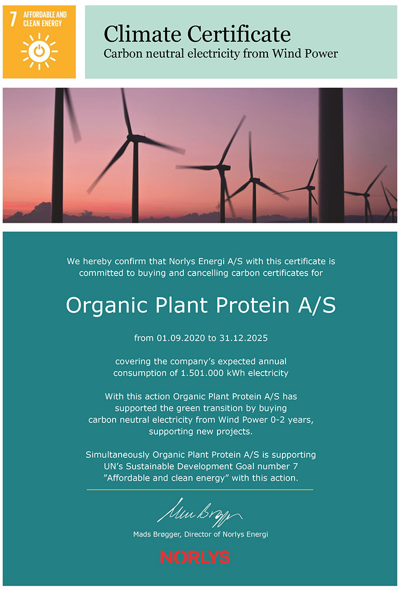 Climate Certificate - Organic Plant Protein